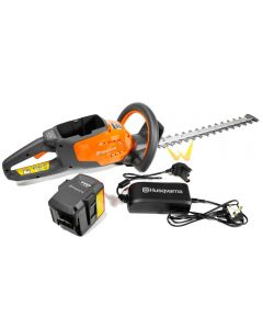 Husqvarna 115iHD45 Cordless Hedge Trimmer kit including battery and charger.