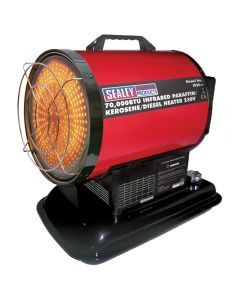 Sealey infrared paraffin/diesel/kerosene heater offers a 70,000 btu heat output