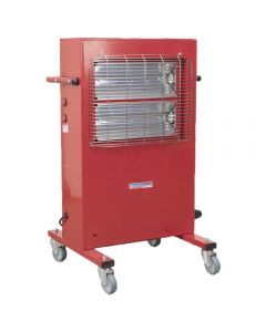 Sealey infrared cabinet heater offers a maximum heat output of 3000w, built on castors to allow the easy movement of the heater