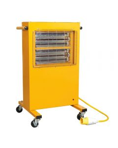 Sealey IRC153 110V Infrared Cabinet Heater with wheels and max heat output of 3000W.