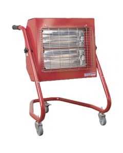 Sealey infrared heater offers a 1.5/3.0kW heat output, can be run from household electrics