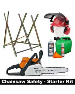 "Stihl MS170 entry level 12"" petrol chain saw with safety starter kit"