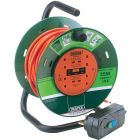 Draper 25m garden extension cable reel with RCD breaker adapter.
