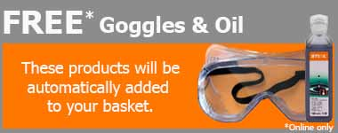 Free goggles and engine oil with certain products at World of Power