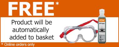 Stihl oil and goggles free with some garden machinery from World of Power